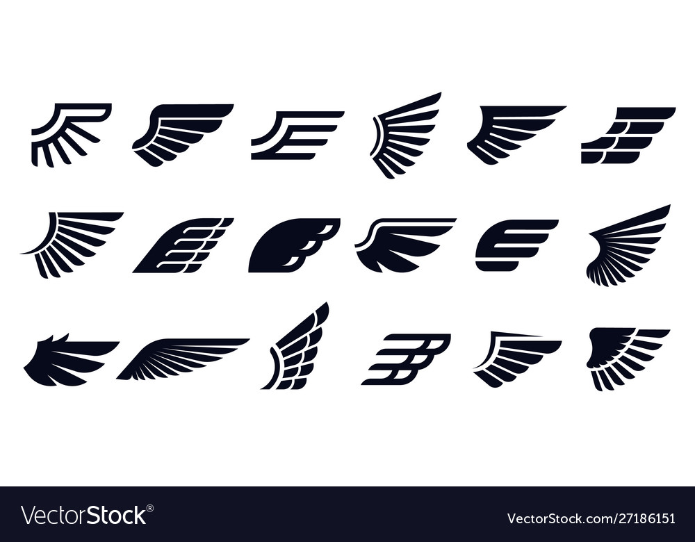 Silhouette wing icons bird wings fast eagle