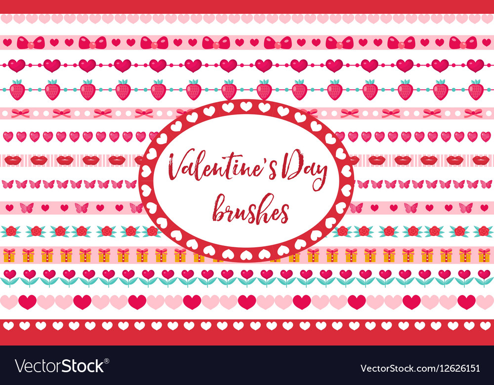 Valentines Day borders set Cute heart flowers