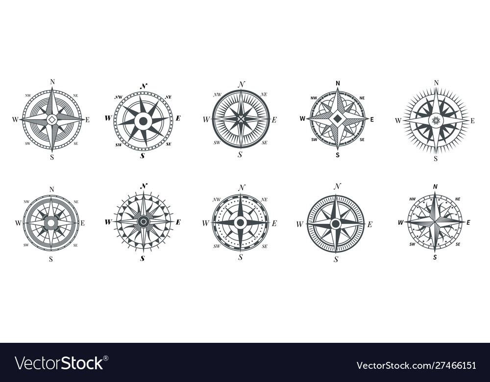 Vintage compass nautical wind rose compasses for