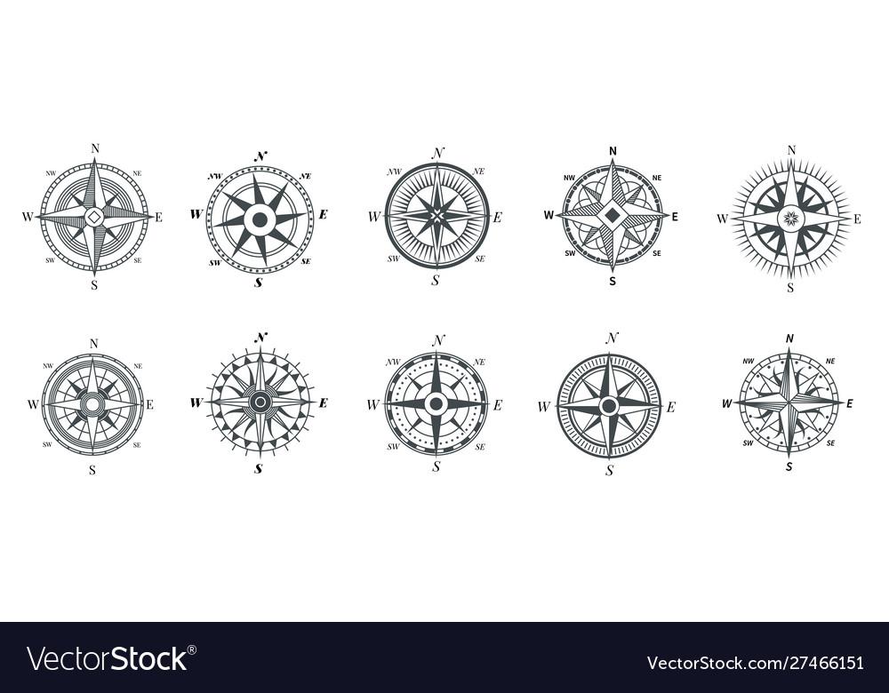 Vintage compass nautical wind rose compasses