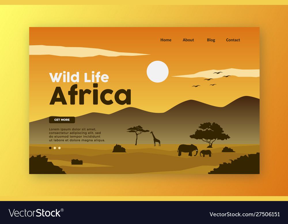 Wild life landing page africa nature
