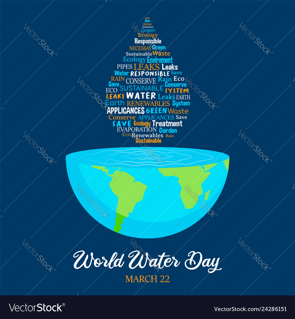 World water day planet earth with waterdrop