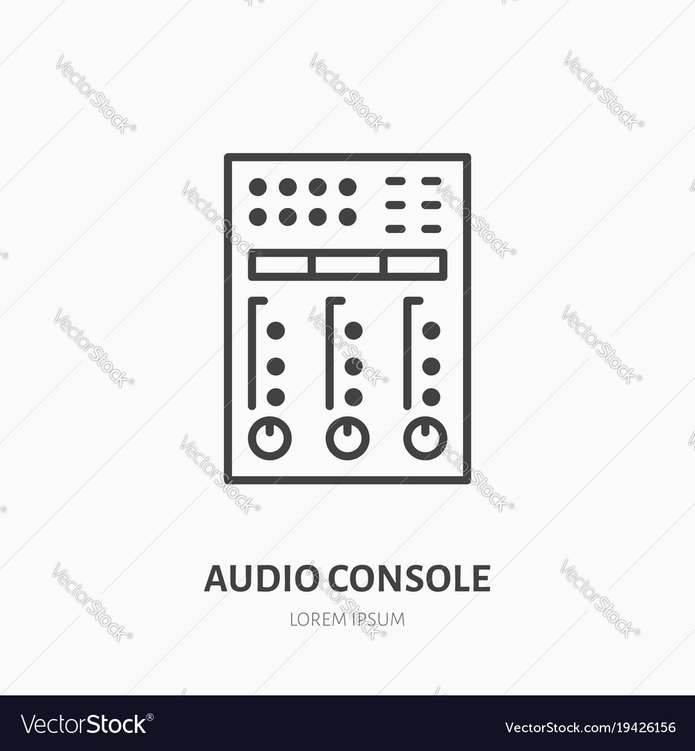 Audio console flat line icon sound board audio vector image