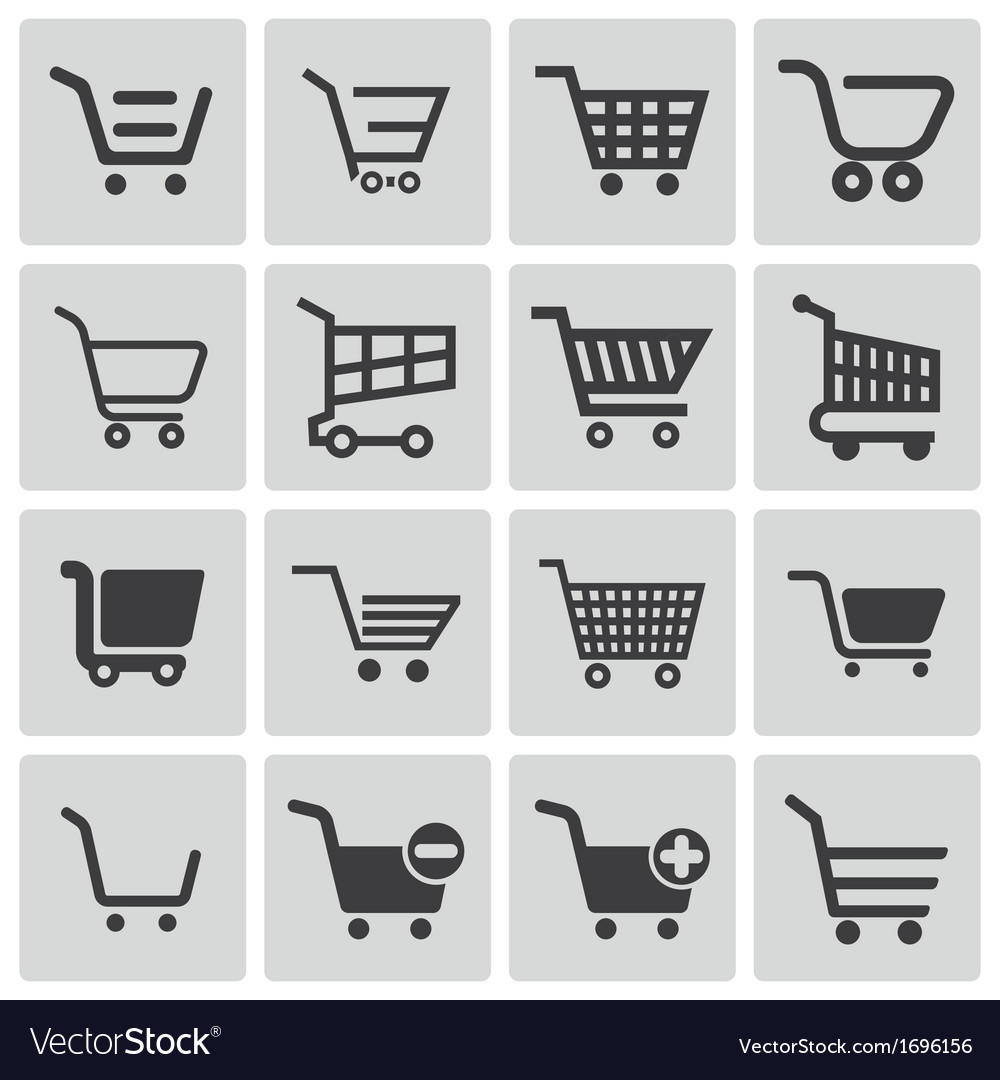 Black shopping cart icons set vector image