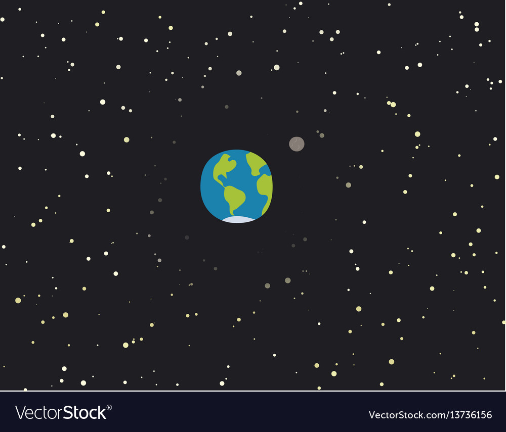 Cartoon planet earth with moon vector image