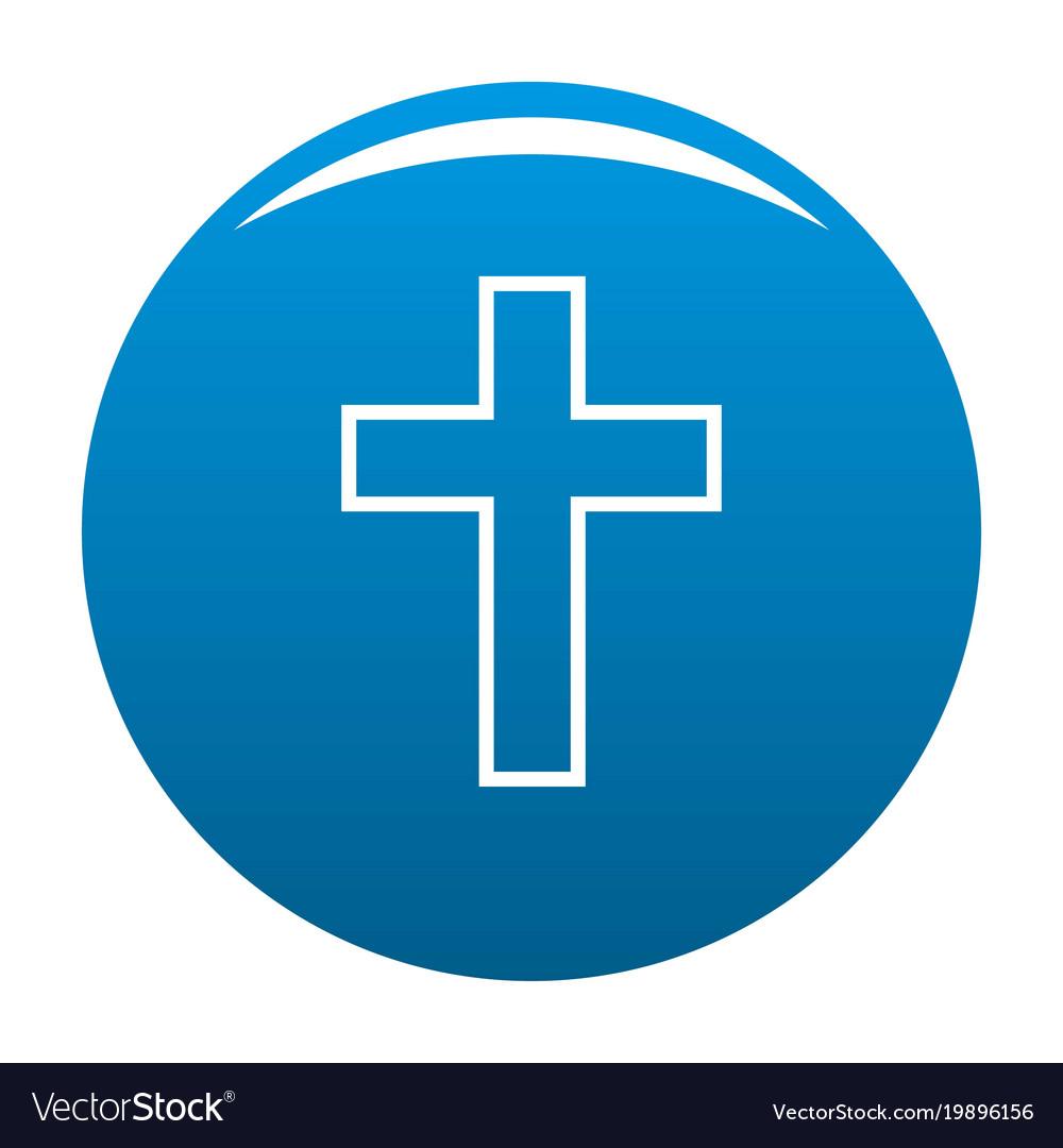 Catholic cross icon blue