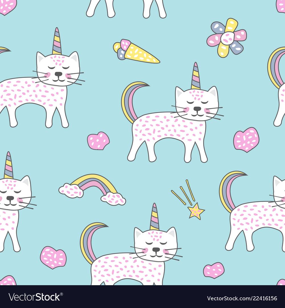 Childish seamless pattern with cute cats unicorn
