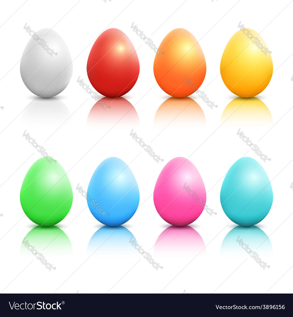 Colorful realistic Easter eggs set