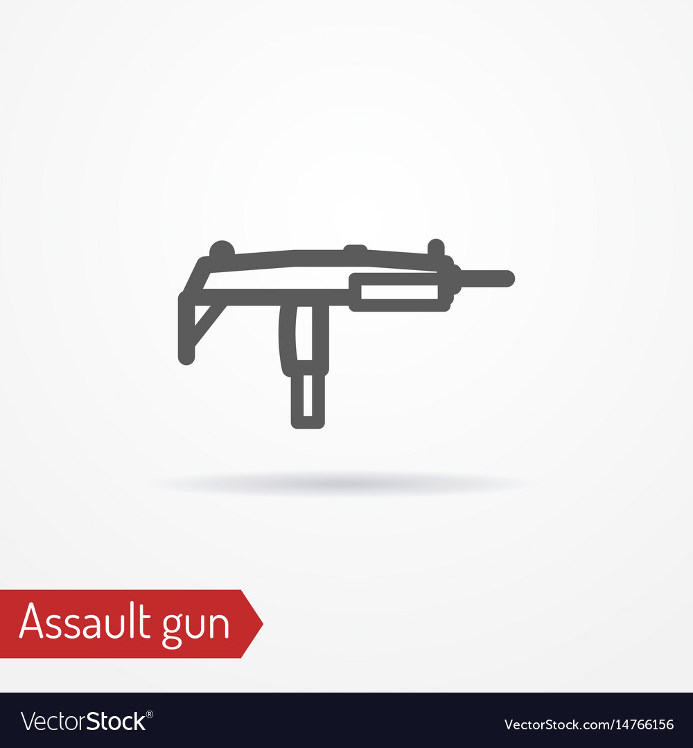 Compact submachine gun line icon