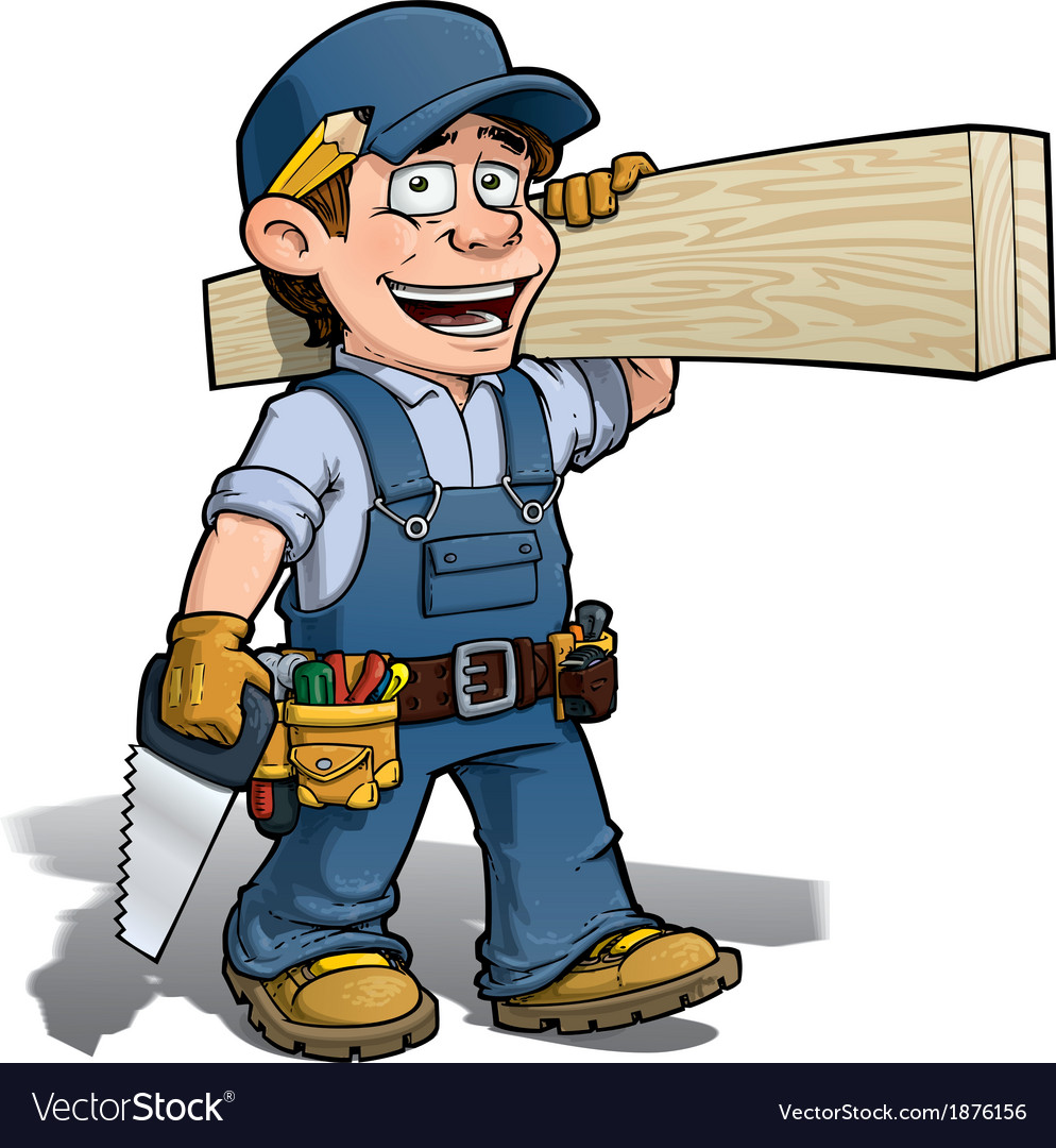 Handyman Carpenter Blue Royalty Free Vector Image