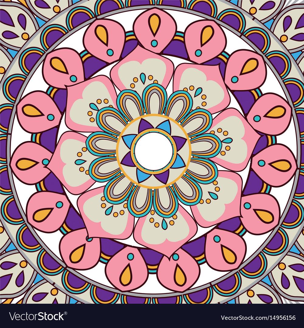 Ornate abstract color mandala element wallpaper Vector Image