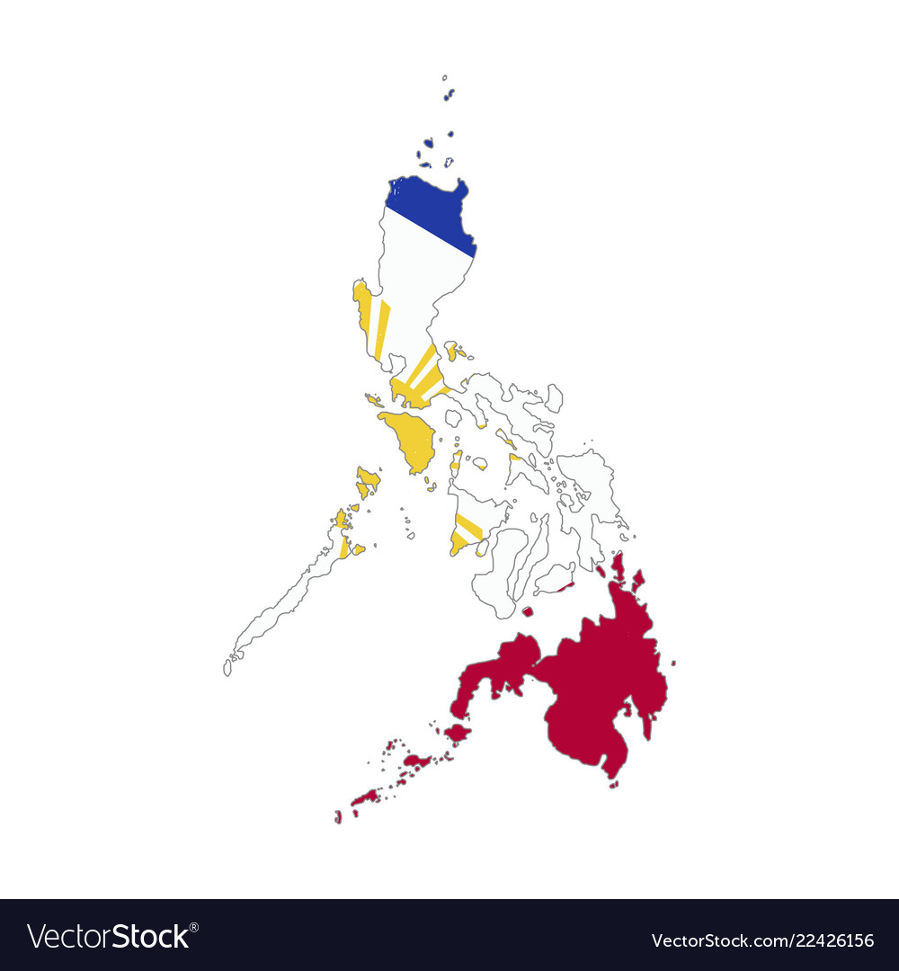 Philippines country silhouette with flag on