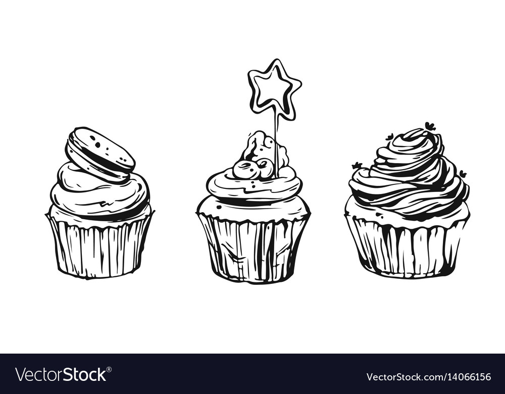 Set of cute cupcakes and muffins