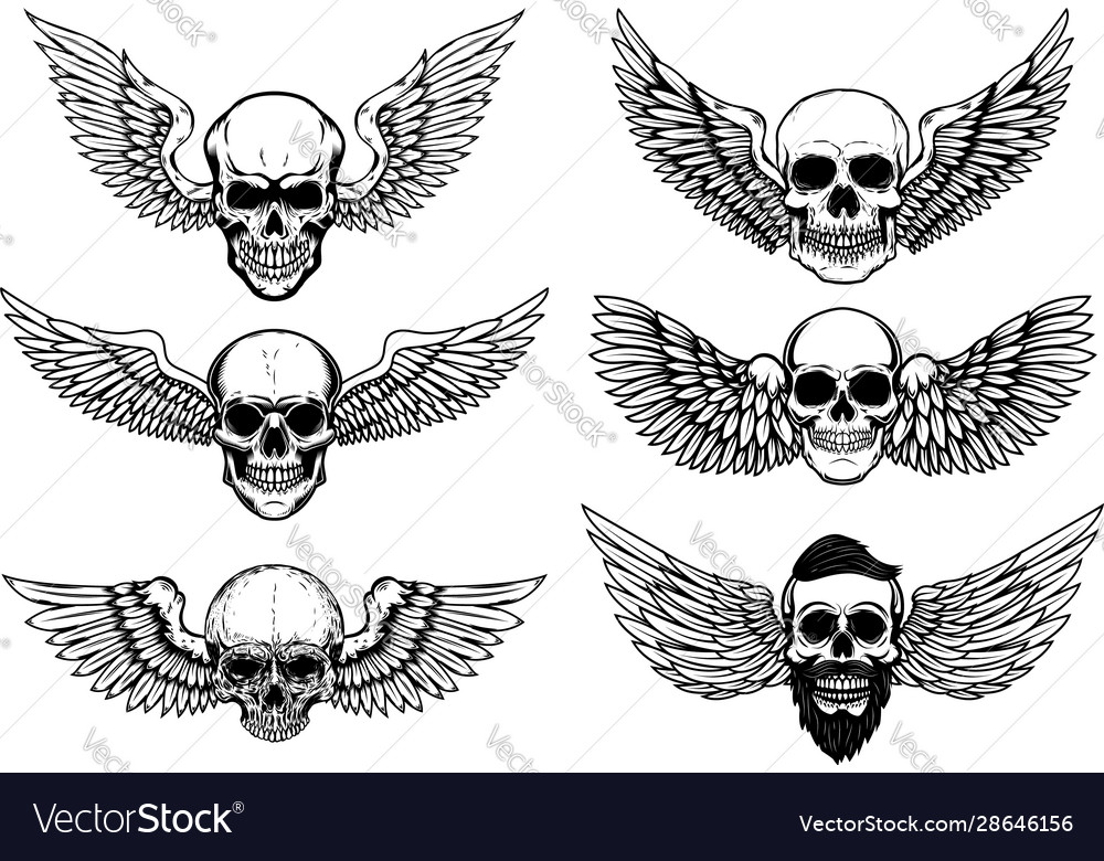 Set winged human skull isolated on white vector