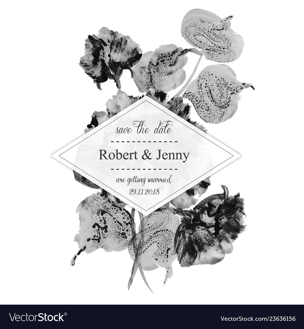 Watercolor black and white floral wedding