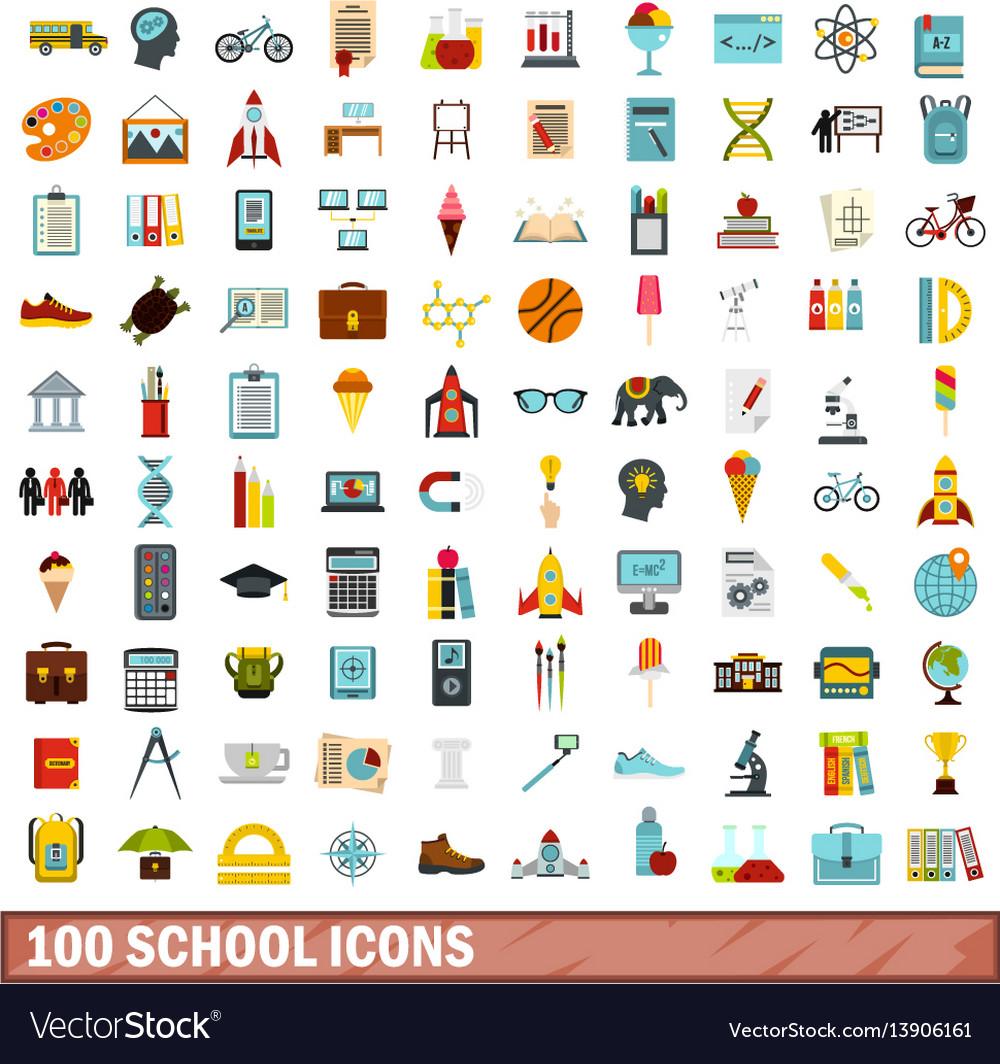 100 school icons set flat style