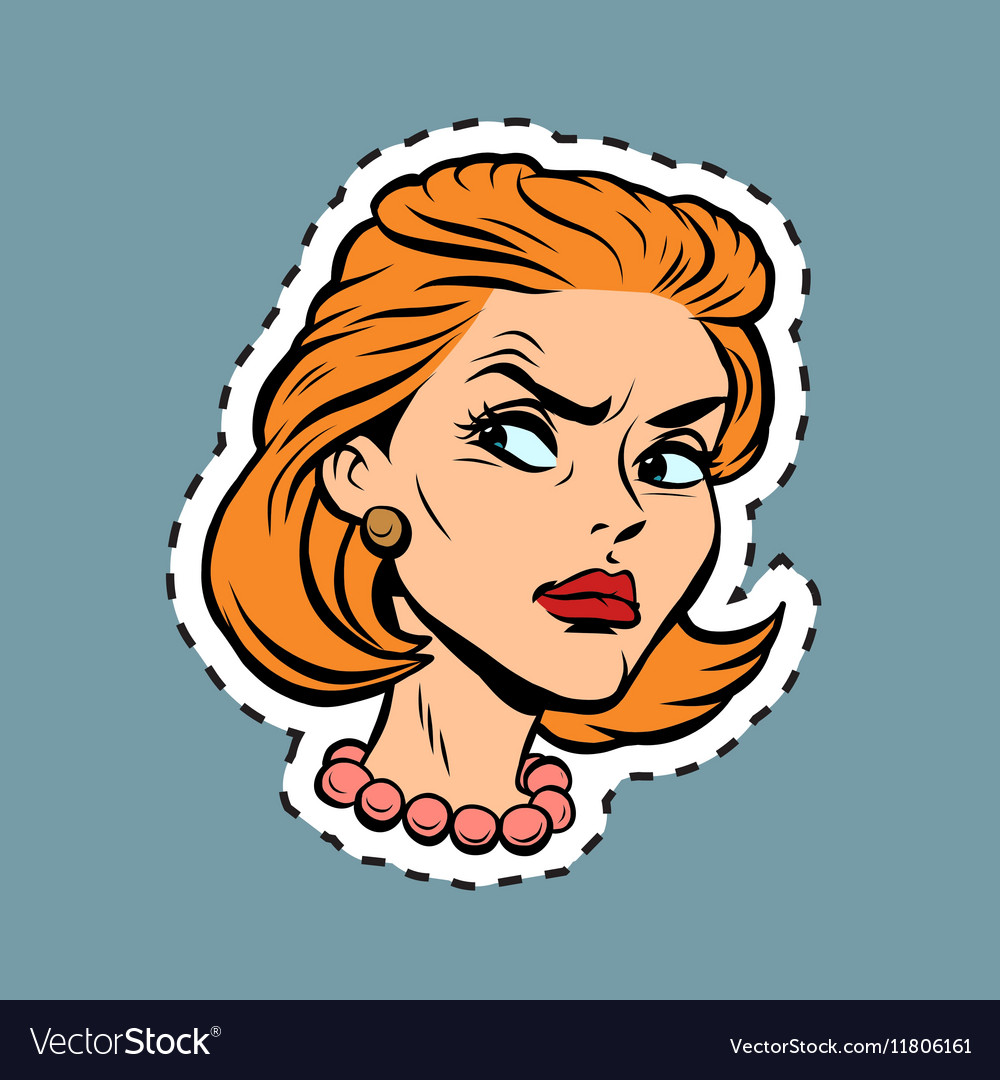 Angry girl face emoji sticker label vector image