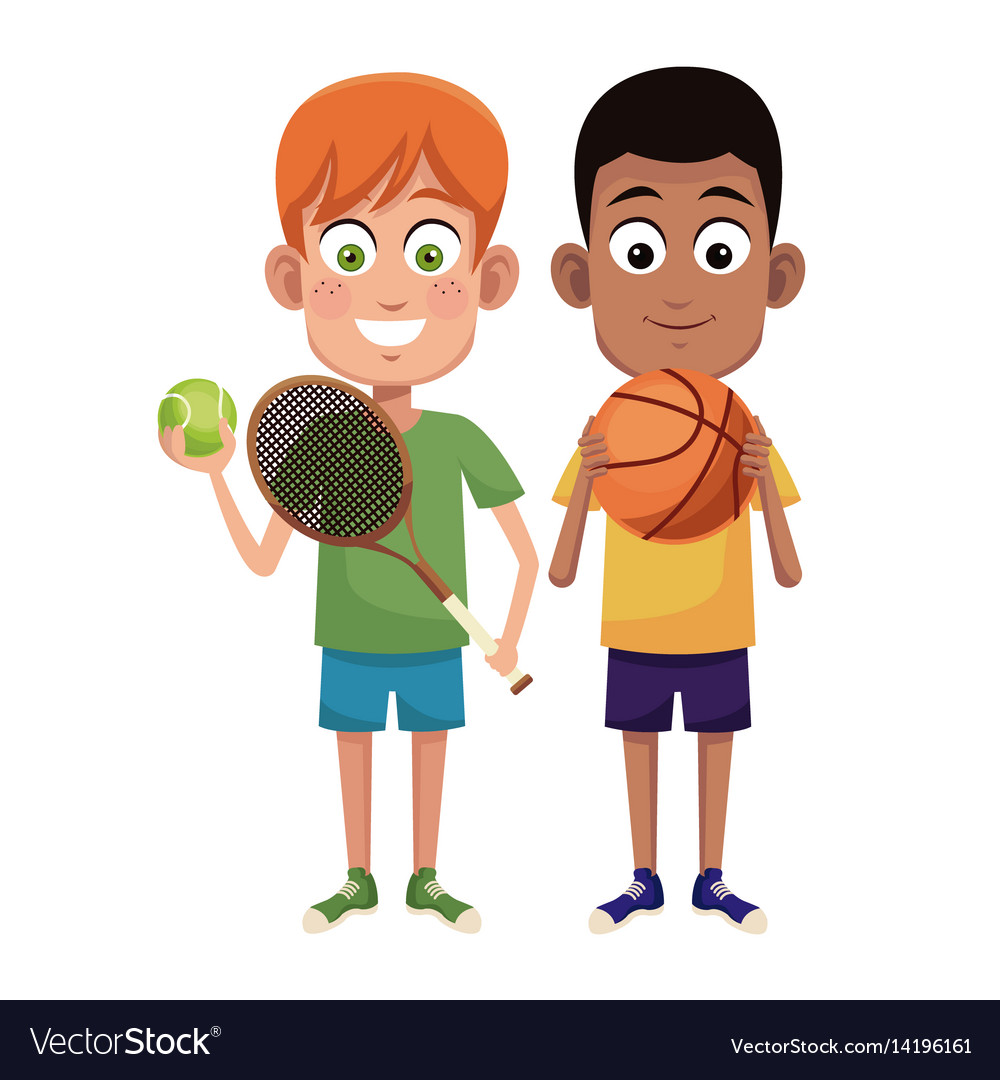 Boys sport tennis and basketball design vector image