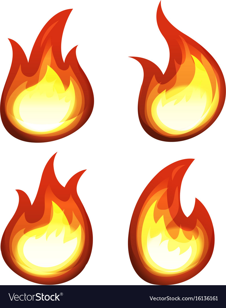 Cartoon fire and flames set vector image
