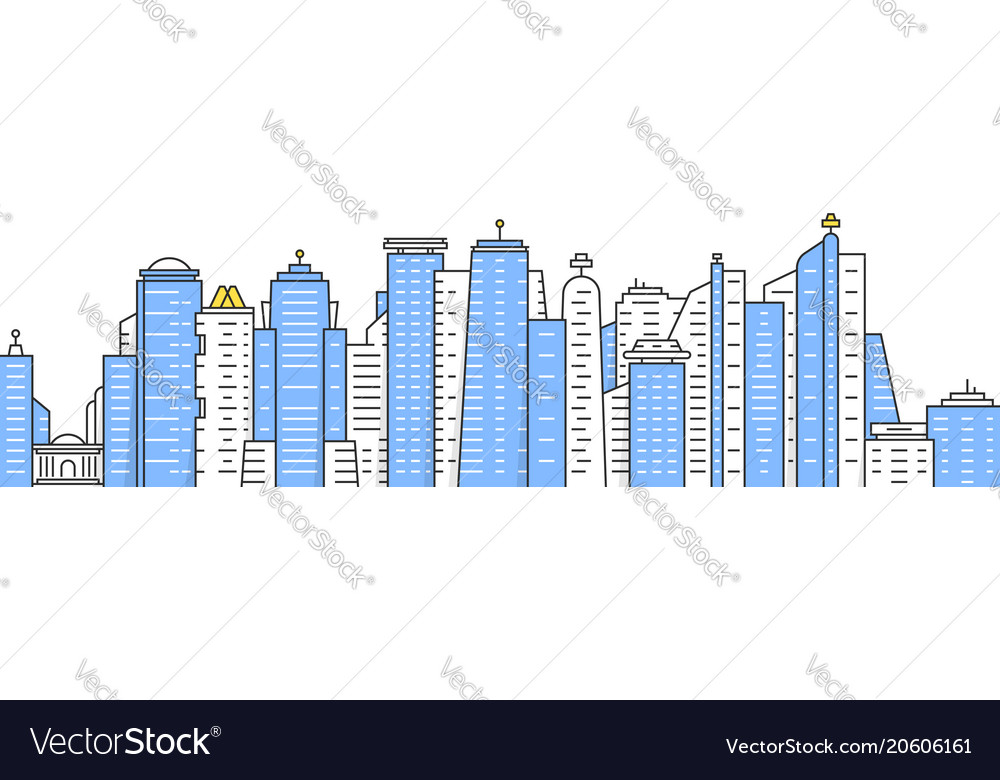 Colored thin line city panoramic view