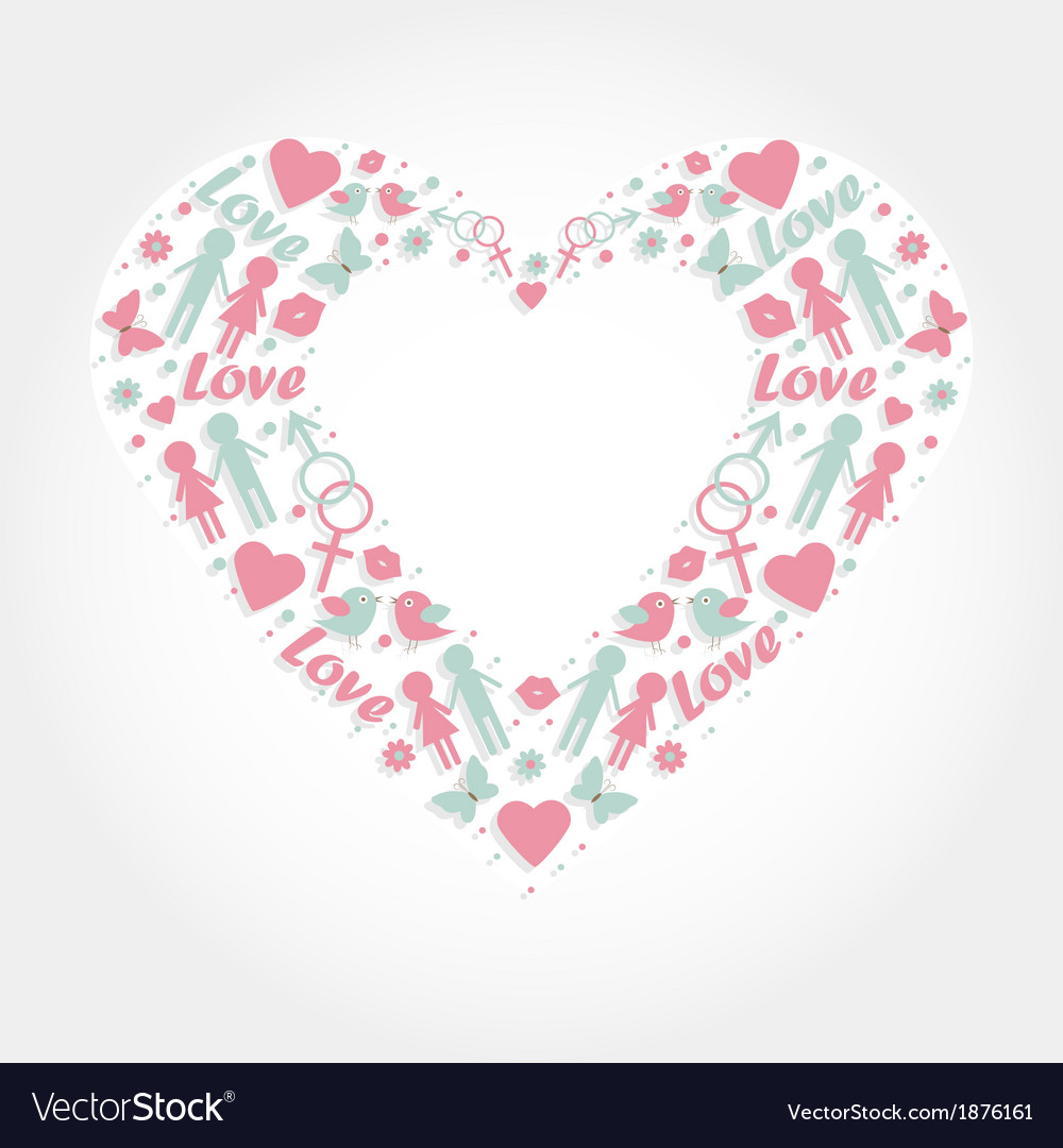 Heart With Love Symbols Royalty Free Vector Image