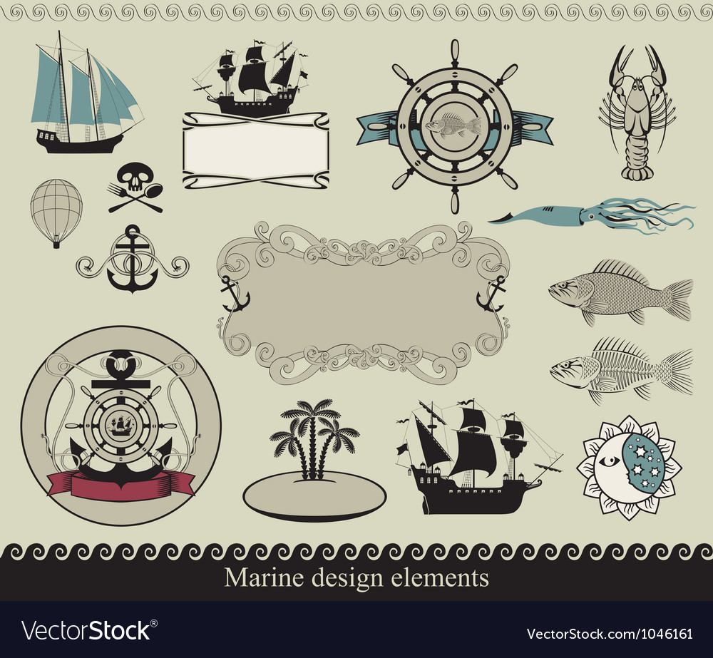 Marine elements vector image