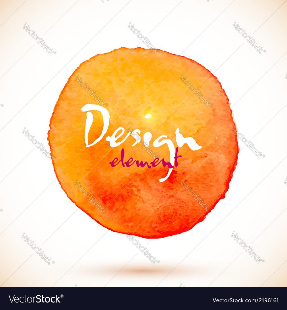 Orange watercolor circle design element