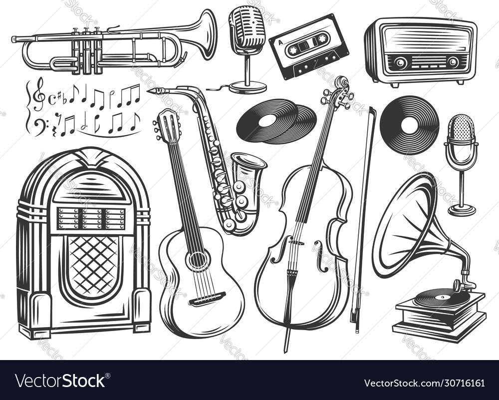 Retro musical instruments symbol