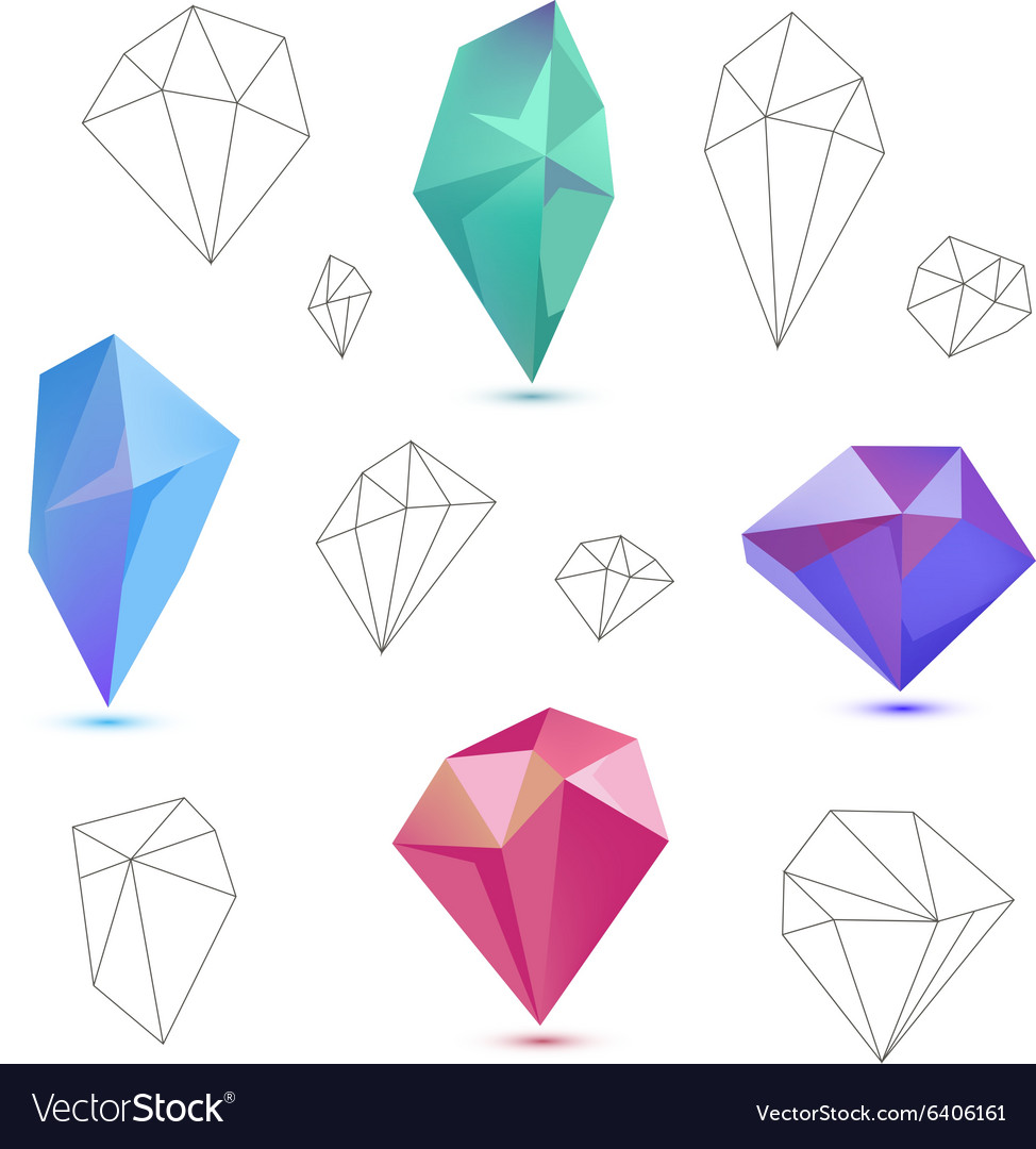 Set of colorful 3d and line diamonds
