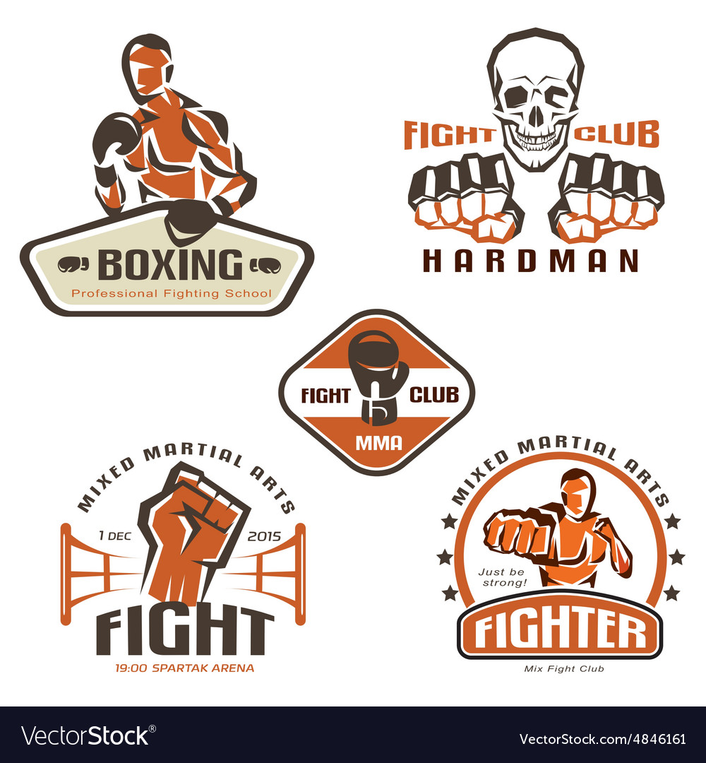 Set Of Fighting Club Emblems Mma Boxing Labels And