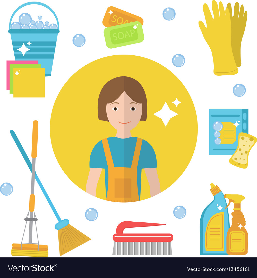 Set of icons for cleaning tools house cleaning