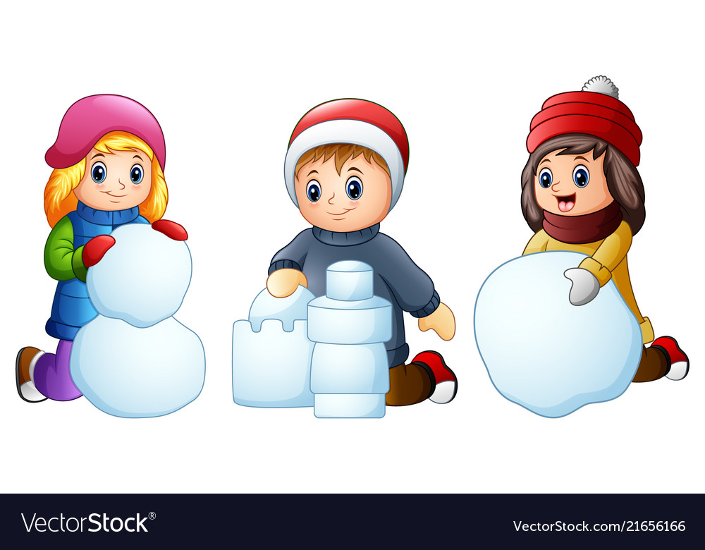 Cartoon Kids Playing With Snow Isolated On A White
