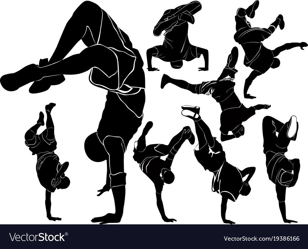 Collection breakdance break dance silhouettes