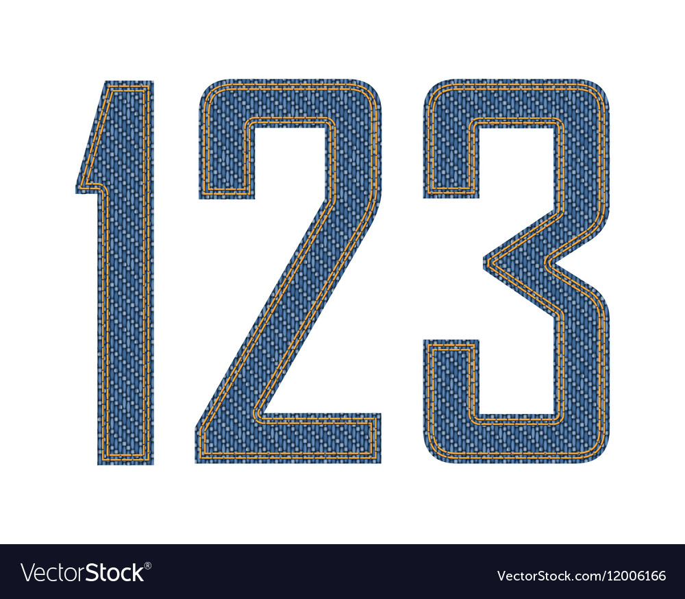 Denim fabric stithed digits vector image