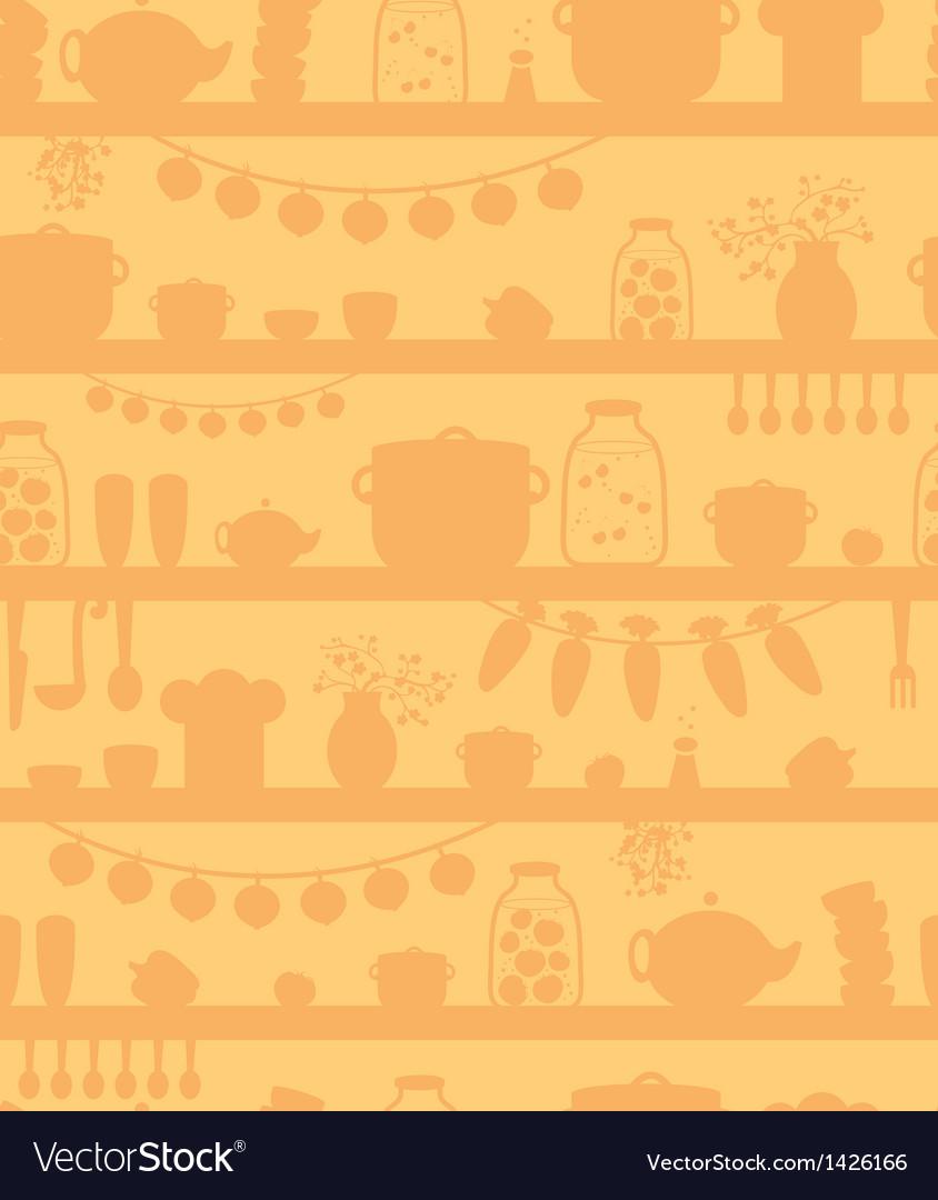 Kitchen pantry shelves seamless pattern background