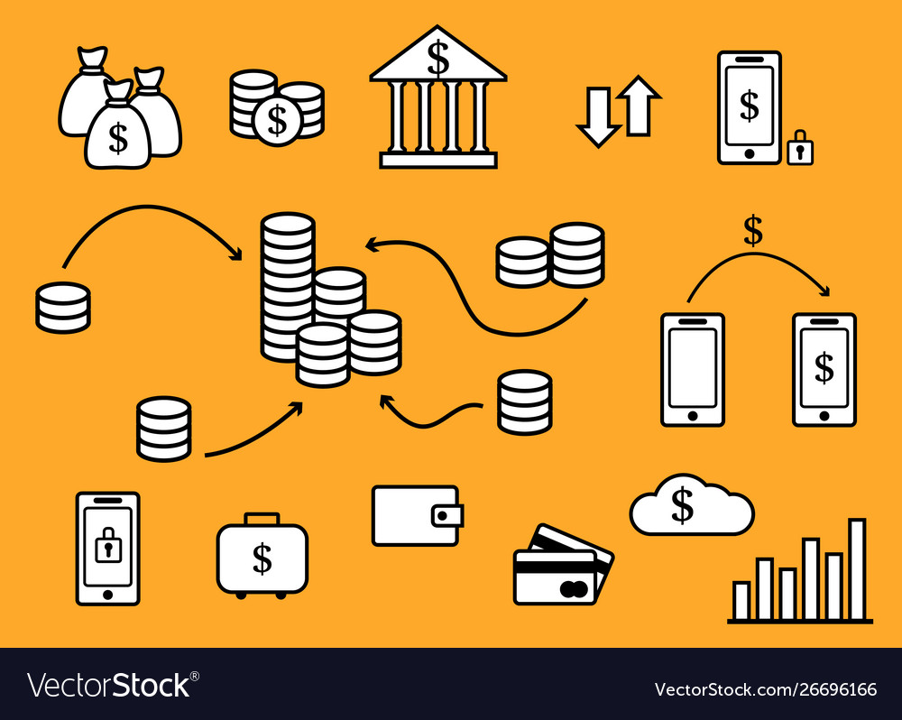 Large set icons on theme money vector