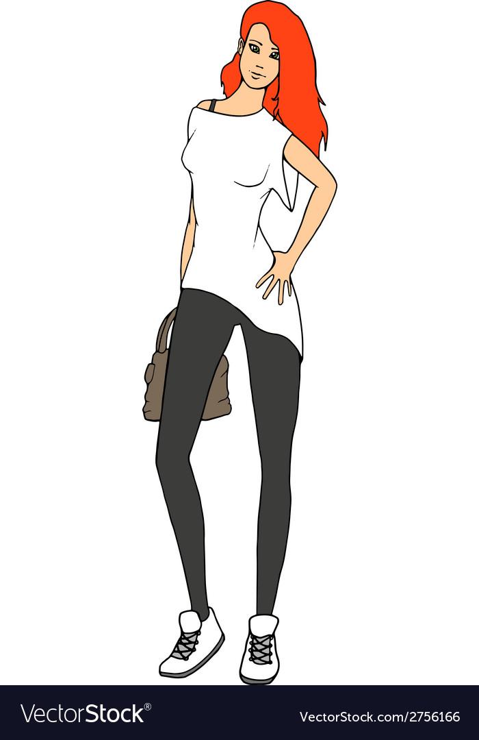 1685fce52e294 Pretty redhead street style fashion girl Vector Image