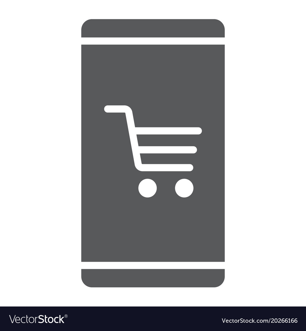 Smartphone with open store application glyph icon