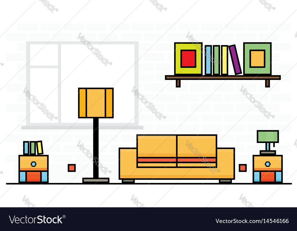 Yellow sofa with two curbstones and lampshade