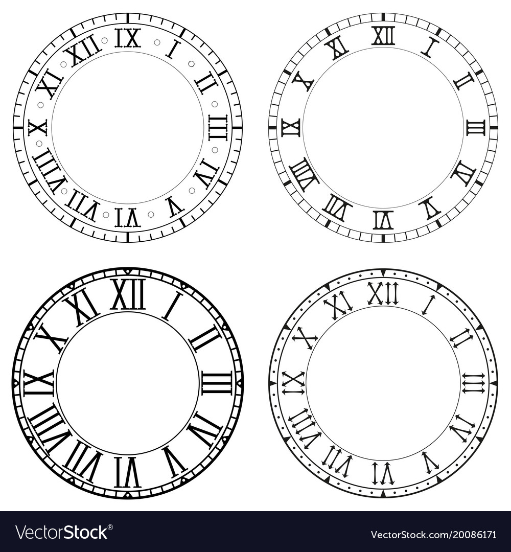 Clock face blank white clock with roman numerals