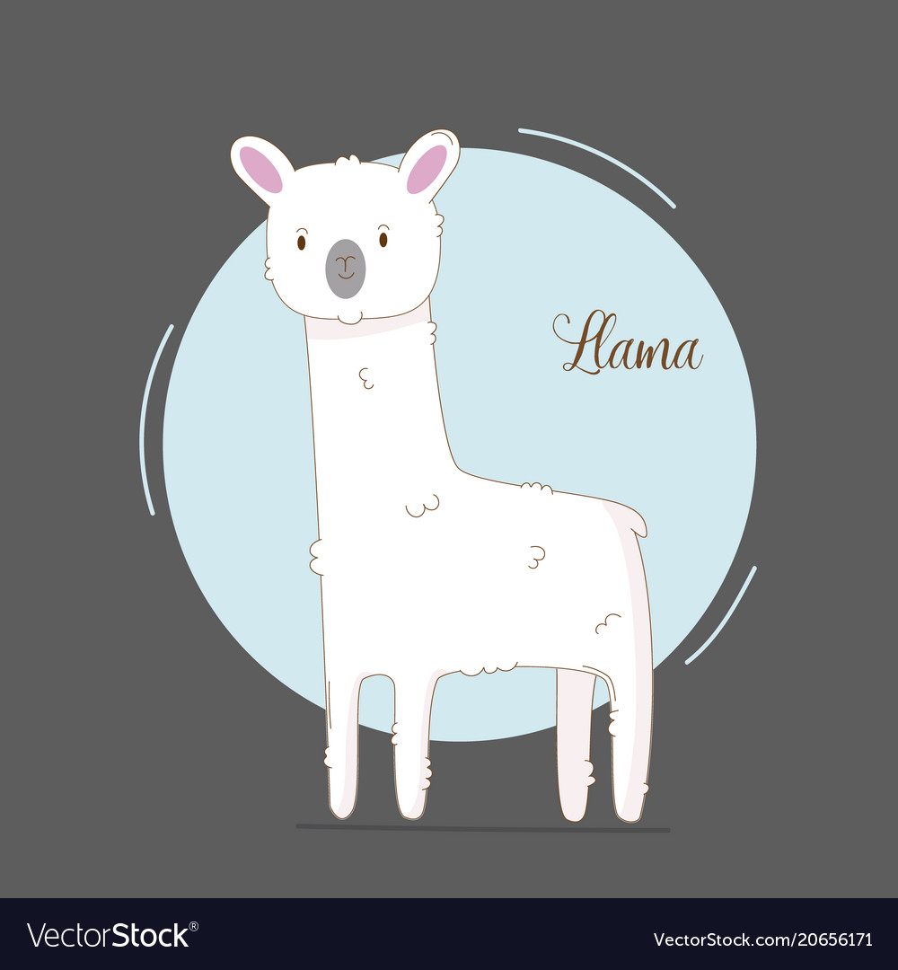 Cute hand drawn llama for baby girl simple cute