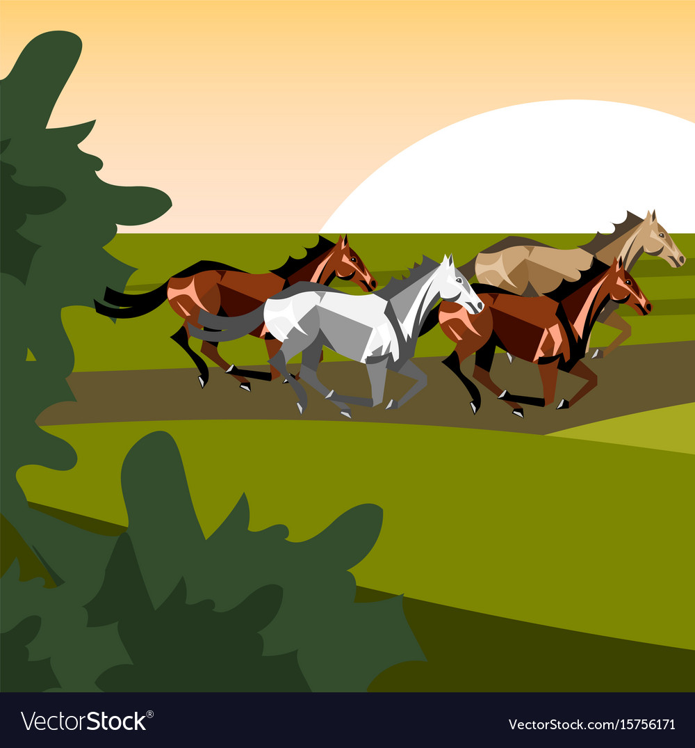 Different breeds of horses vector image