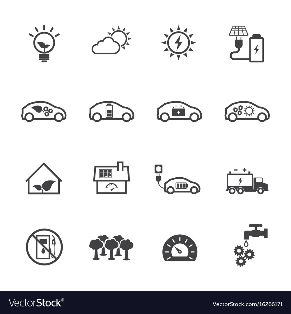Ecology and power saving icons set flat design vector image