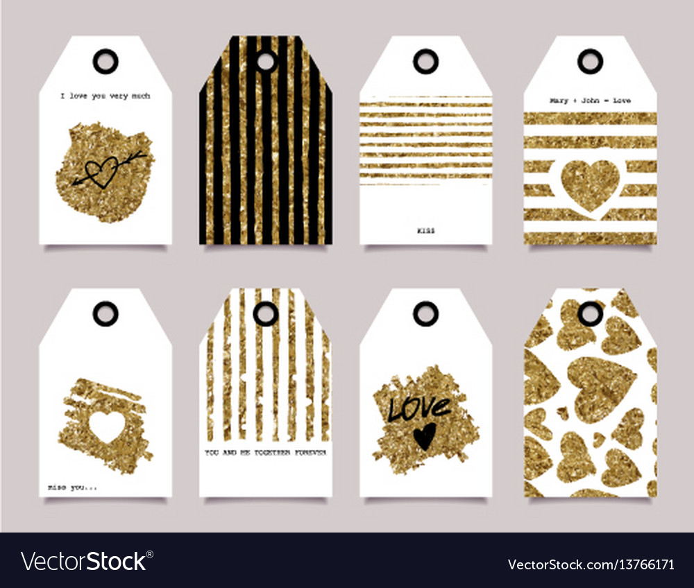 Gift card gold love vector