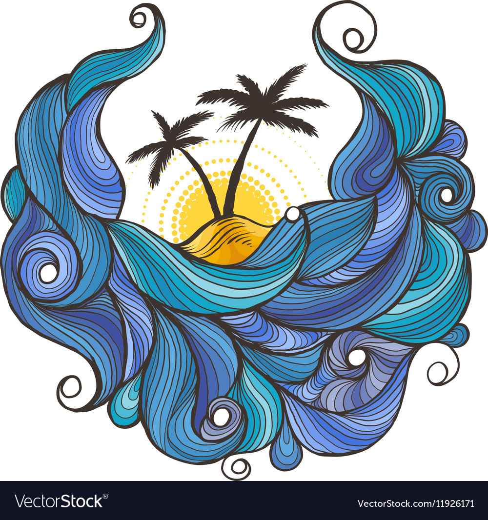 Ink doodle waves with palms