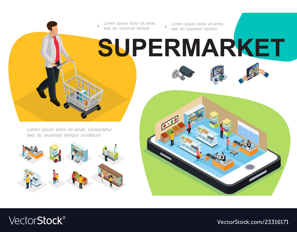 Isometric supermarket composition