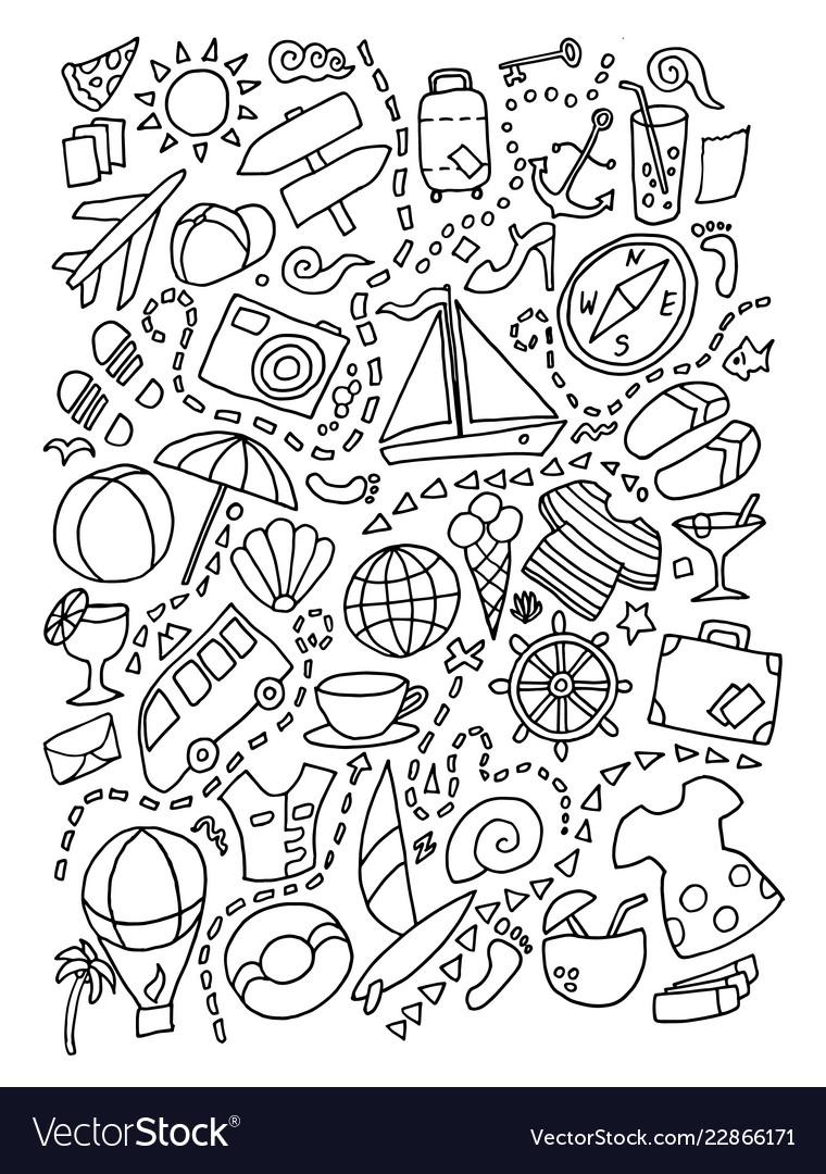 Line art doodle cartoon set of travel planning