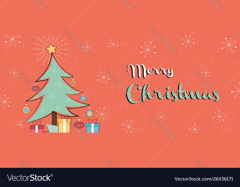 Merry christmas retro mid century pine tree banner