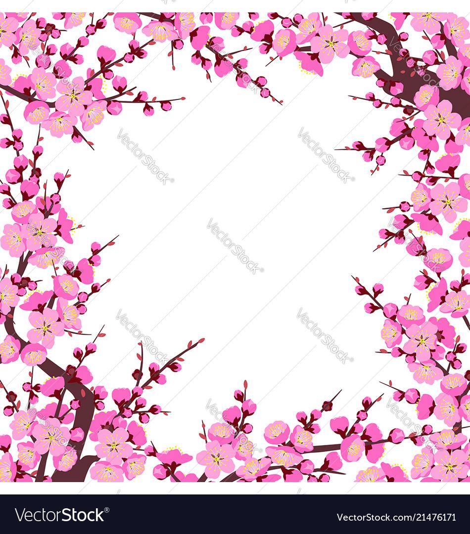 Plum blossom branches square frame