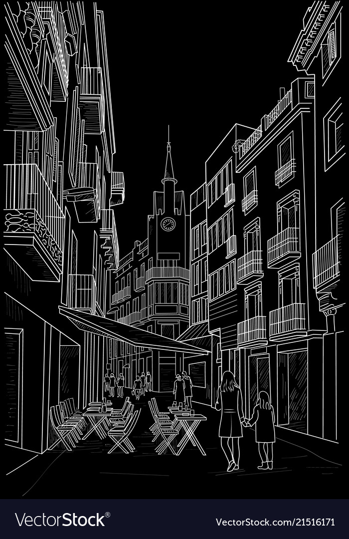 Sketch of the street of sitges